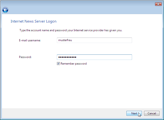 Wizard: Internet News Server Logon